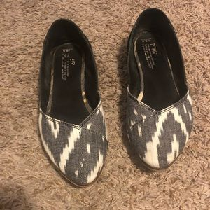 Toms Juliet Flats Black and White 8.5